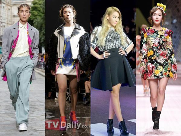 Soyou, CL, EXO, Jessica, Minho (SHINee), Mino (Winner), Suzy... là những cái tên hiếm hoi có cơ hội đứng trên sàn diễn như những người mẫu chuyên nghiệp. Và hầu hết những anh chàng, cô nàng này đều thuộc hàng 'idol hạng A' đối với làng giải trí Hàn Quốc.