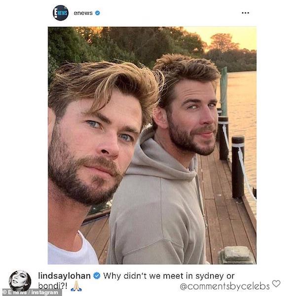 Lindsay Lohan vừa bình luận 'thả thính' nam diễn độc thân Liam Hemsworth.