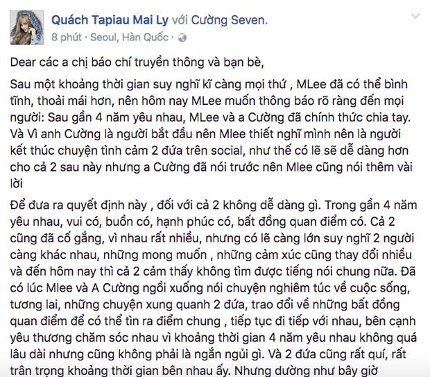 Sao Việt thông báo chia tay qua facebook khiến khán giả vừa day dứt yêu thương, vừa ngậm ngùi tiếc nuối 2