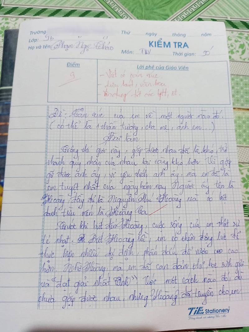 Fan nữ viết bài văn 3 trang về Hoàng Ca: 'Anh ấy là động lực giúp em trở thành HS lớp 8 đầu tiên trong lịch sử trường được hạng Nhất tỉnh' 0
