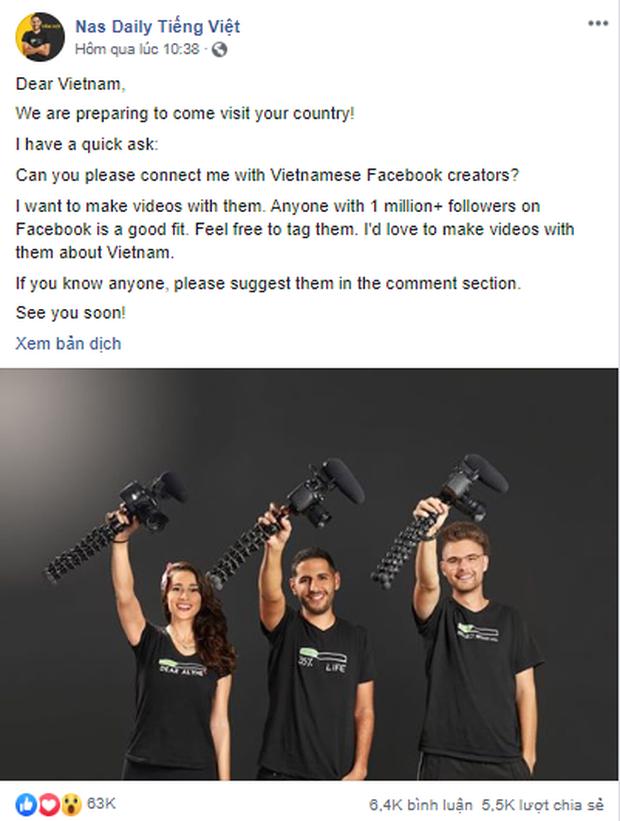Nas Daily đặt tiêu chí cho người mà anh hợp tác 'có hơn 1 triệu người theo dõi trên Facebook ở Việt Nam'