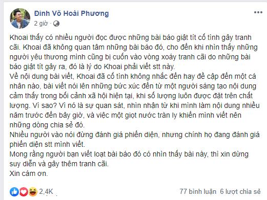 Phản hồi mới nhất của Khoai Lang Thang về vụ việc