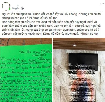Anh L. - bố bé L.T.M xúc động chia sẻ bức thư của con trai