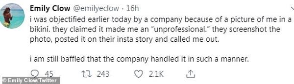 Emily thể hiện sử phẫn nộ trên Twitter.