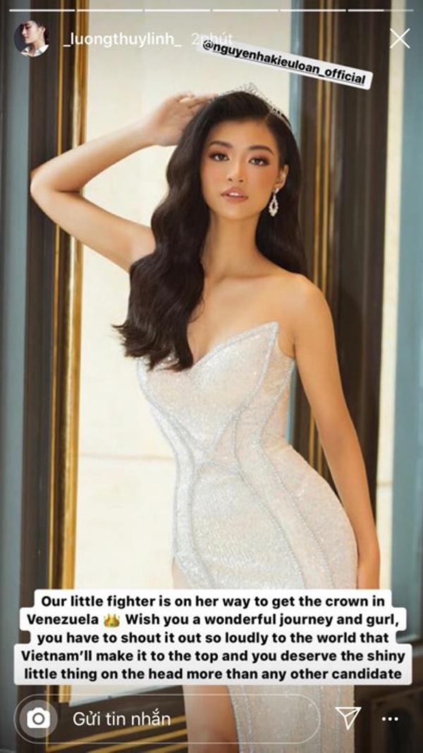 Hoa hậu lương Thùy Linh chúc Kiều Loan 'có một hành trình tuyệt vời'