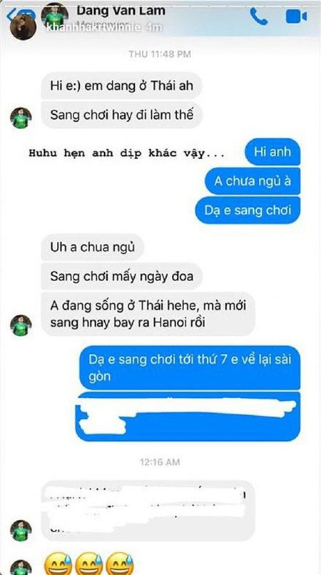 Khánh Hà đăng chiếc ảnh chụp màn hình tin nhắn giữa cô và Lâm Tây lên trang cá nhân