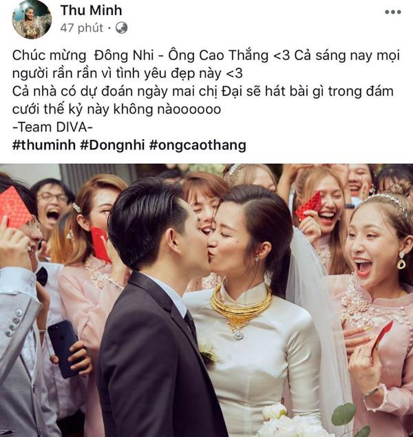 Thu Minh dành lời 'có cánh', gọi đám cưới của Đông Nhi - Ông Cao Thắng là đám cưới thế kỉ. Ngoài ra, nữ ca sĩ cũng 'khoe khéo' về việc mình sẽ góp giọng trong đám cưới diễn ra tại Phú Quốc của cặp đôi.