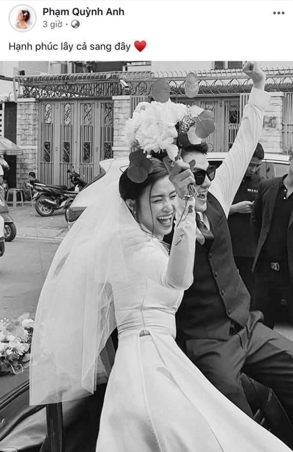 Trong ngày trọng đại của hai người, không thể thiếu Phạm Quỳnh Anh - 'bà mai' mát tay đã se duyên cho chuyện tình đẹp này.