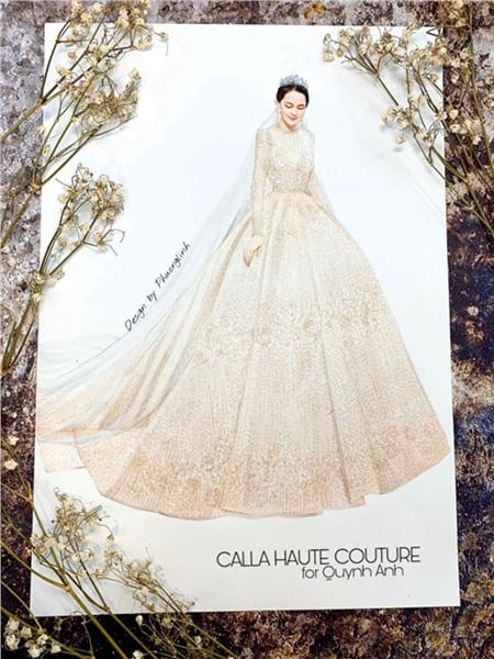 Chiếc váy cưới đẹp từng milimet do NTK Phương Linh thiết kế.