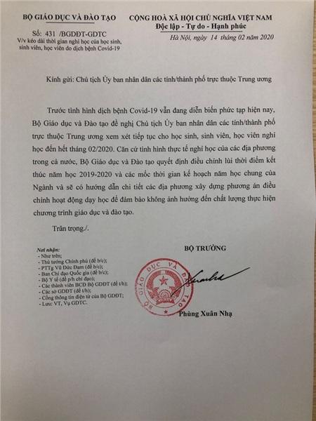 Bộ trưởng Phùng Xuân Nhạ gửi công văn 'Hỏa tốc' đề nghị kéo dài thời gian nghỉ học đến hết tháng 02/2020 0