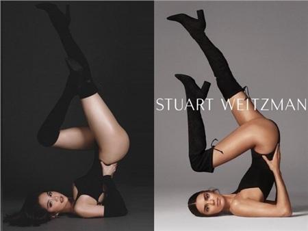 Những dáng pose như tư thế đá chân cao, kéo hông đến 'cosplay'tư thế yoga khi mặc bikini, Ngọc Trinh như chị em sinh đôi với Kendall Jenner. Bên cạnh đó, bộ swimsuit của Ngọc Trinh cũng màu đen, chỉ có điều thiết kế cắt khoét táo bạo hơn chút đỉnh.