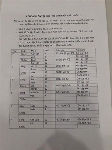 Thời khóa biểu theo lịch phát sóng trên truyền hình của học sinh các khối THCS, THPT tỉnh Đồng Nai