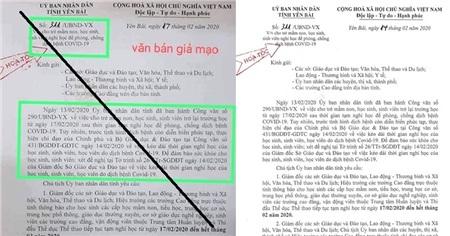 Văn bản giả mạo và văn bản chính thức của Sở GD&ĐT tỉnh Yên Bái
