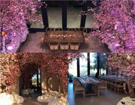 Ở tiệc mừng em bé thứ 3 chào đời, Kim đã biến ngôi nhà của cô thành một vườn hoa anh đào khổng lồ.