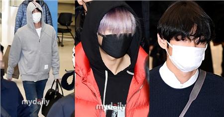 BTS trùm kín mít, các fan tụ tập tại sân bay đón cả nhóm cũng không đông đúc như mọi khi.