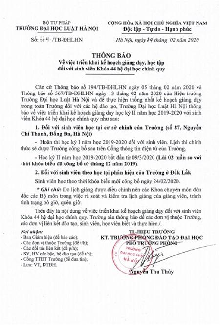 Công văn chính thức được đăng tải trên website Đại học Luật