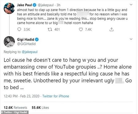 Bạn gái Gigi Hadid phản pháo lại Jake Paul để bảo vệ Zayn.