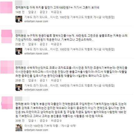 Bình luận chỉ trích Jeon Ji Hyun từdân mạng xứ Hàn.