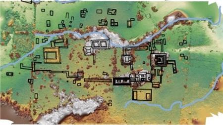 Bản đồ của thành phố khổng lồ là thủ đô của một vương quốc thuộc đế chế Maya huyền thoại - ảnh do nhóm nghiên cứu cung cấp