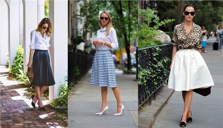 Sơ mi trơncùng chân váy midi, áo trắng phối chân kẻ hay họa tiết đốm cùng chân váy trắng xòe,... rất nhiều cách kết hợp cho bạn tham khảo và làm theo.