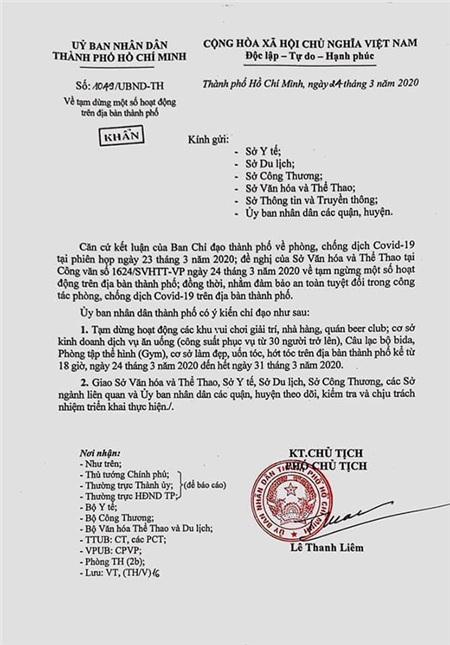 Công văn mới được áp dụng trên địa bàn thành phố Hồ Chí Minh.