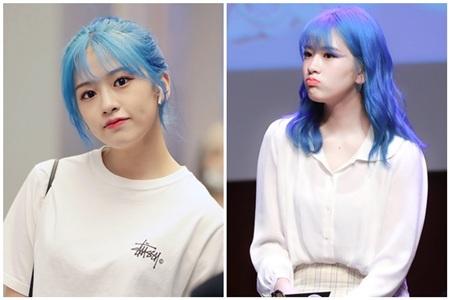Loạt ảnh Yu Jin cùng mái tóc xanh dương được dân mạng ví như nhân vật bước ra từ truyện tranh.