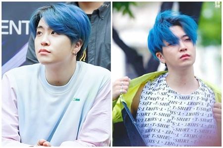 So với những màu nhuộm tóc trước đây, Youngjae được nhận xét là phù hợp với màu nhuộm xanh dương nhất.