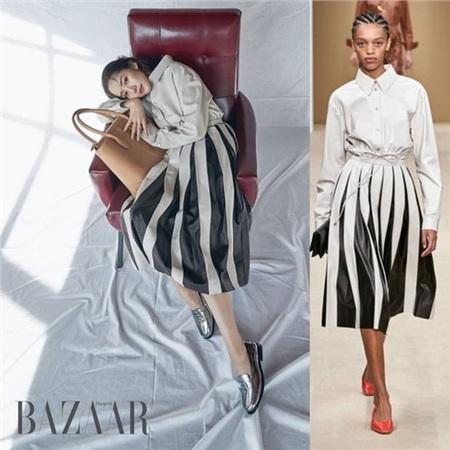 Cách tạo dáng 'hờ hững' cùng với cách mix đôi giàybạc ton-sur-ton với bộ trang phục giúp Park Min Young trông hợp với bộ trang phục hơn.