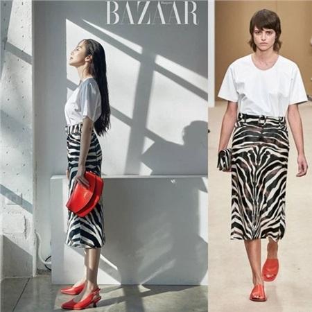 Cùng một cách mix đồ nhưng rõ ràng ở bức ảnh này phải thừa nhận Park Min Young diện đồ hiệu sang hơn hẳn người mẫu của hãng.