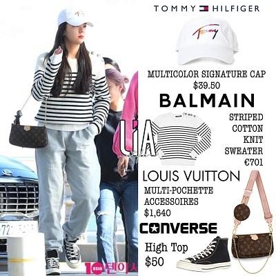 Đơn giản nhưng sành điệu và dễ dàng di chuyển chính là những yếu tố tạo nên một set đồ sân bay của thành viên ITZY. Chẳng hạn như cây hàng hiệu 'từ đầu đến chân' gần 60 triệu được mix từ nhiều thiết kế của các thương hiệu thời trang nổi tiếng nhất thế giới. Set đồ mũ trắng Tommy Hilfiger, áo kẻ đen - trắng Balmain, túi xách sang chảnh Louis Vuitton và đôi giày Converse được Lia lựa chọn mang lại sự thoải mái và năng động cho nữ ca sĩ.