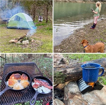 Hôm nay là sinh nhật thứ 12 của con gái tôi. Chúng tôi và chú chó đã cùng đi cắm trại và câu cá, sinh nhật này thật khác sinh nhật trước.