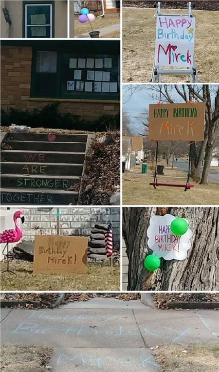 Vì không thể tham giatiệc nên người hàng xóm đã viết những lời chúc cho đứa trẻ ở bên ngoài ngôi nhà.
