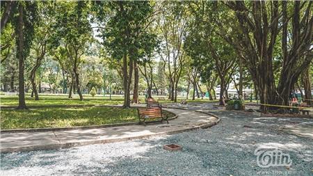 Không gian mát mẻ của những mảng xanh tại công viênvắng hoe giữa mùa dịch...