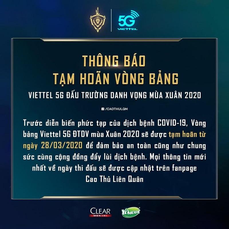 Thông báo tạm dừng vòng bảng ĐTDV mùa xuân 2020.