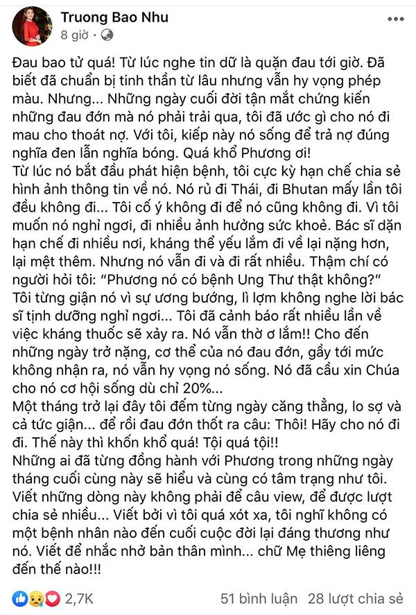 Trương Bảo Như tâm sự về người bạn quá cố khiến ai đọc cũng xót xa.