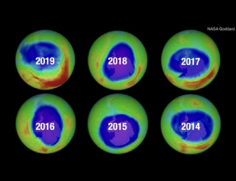 Tầng Ozonequa các năm.