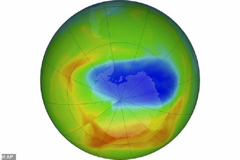 Lỗ thủng Ozone đang đạt mức nhỏ nhất vào 8/2019 và hiện tại vẫn đang cải thiện tốt. Ảnh: NASA