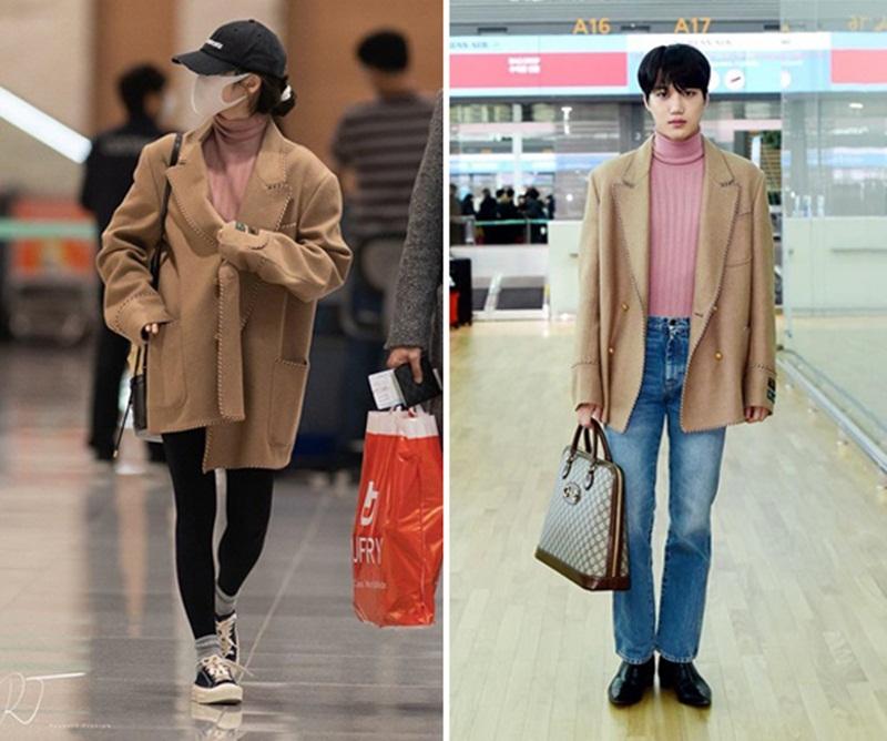 Cả haiđều diện áo kiểu áo len hồng khoác cùng blazer màu camel ở ngoài. Nhưng thay vì mặc quần bó như IU thì nam thần tượng lại chọn một chiếc quần jean ống suông đi với giày da mũi nhọn.