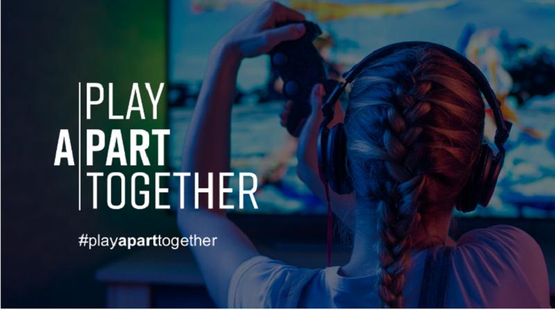 #PlayApartTogether là chiến dịch khuyến khích người dân ở nhà chơi game trong mùa dịch.