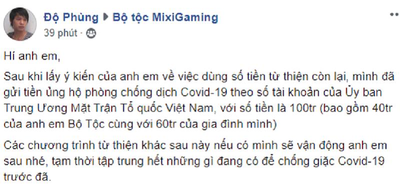 Độ Mixi cùng fanclub Mixi Gaming chung tay quyên góp 100 triệu đồng để chống dịch Covid-19 0