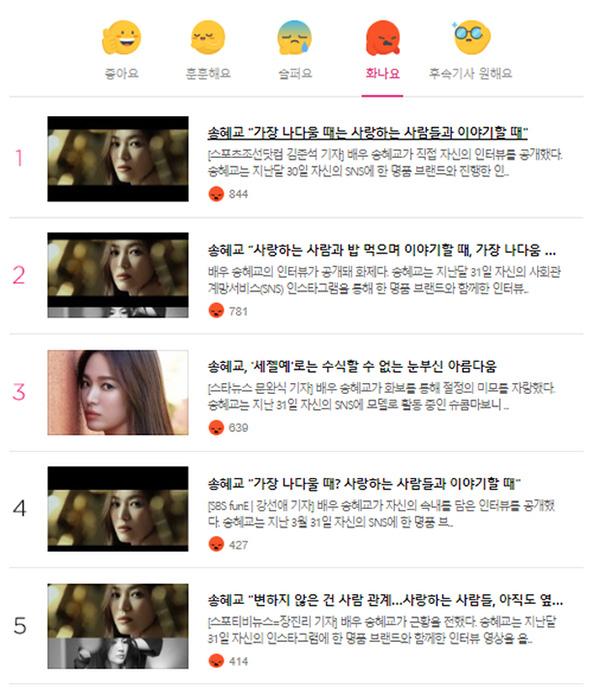 Song Hye Kyo chiếm trọn top tin gây phẫn nộ nhất Naver