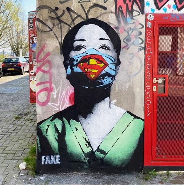 Loạttác phẩm nghệ thuật đường phố tuyên truyền phòng chống đại dịch Covid-19 ấn tượng trên thế giới 0