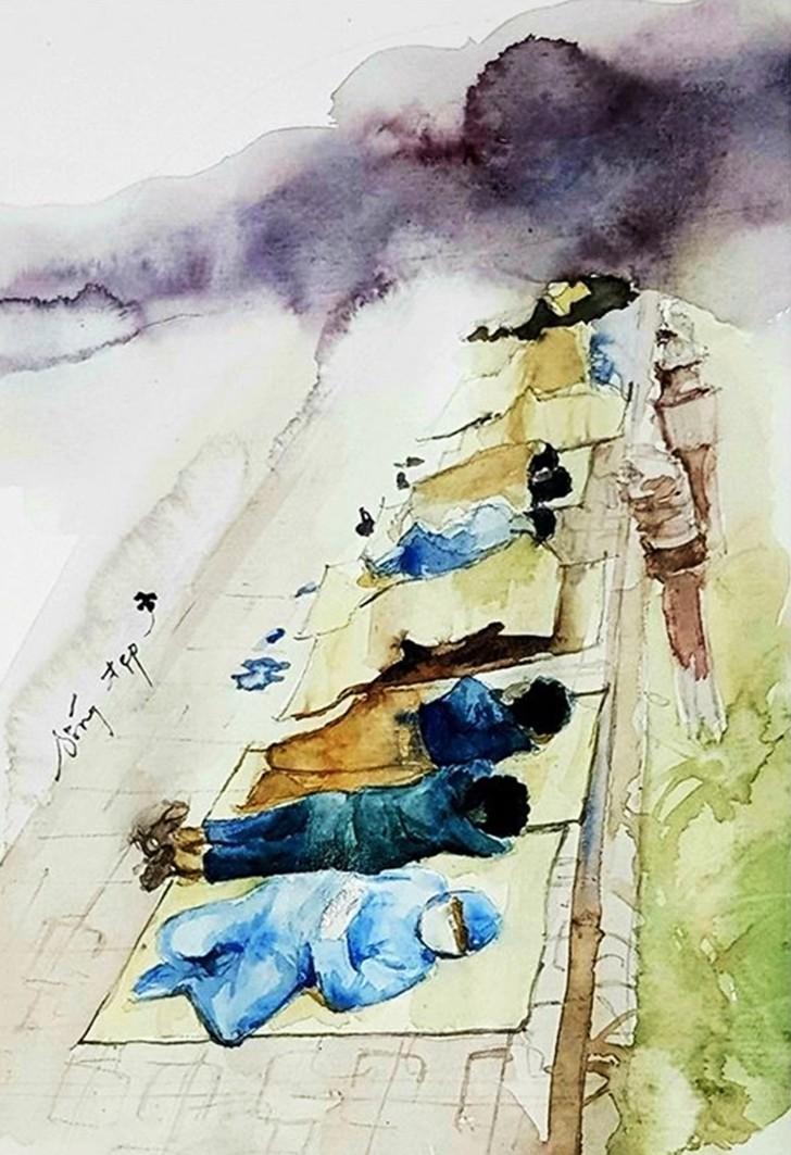 Những bức ký họa của người trẻ về chiến dịch chống Covid-19 làm lay động lòng người 2