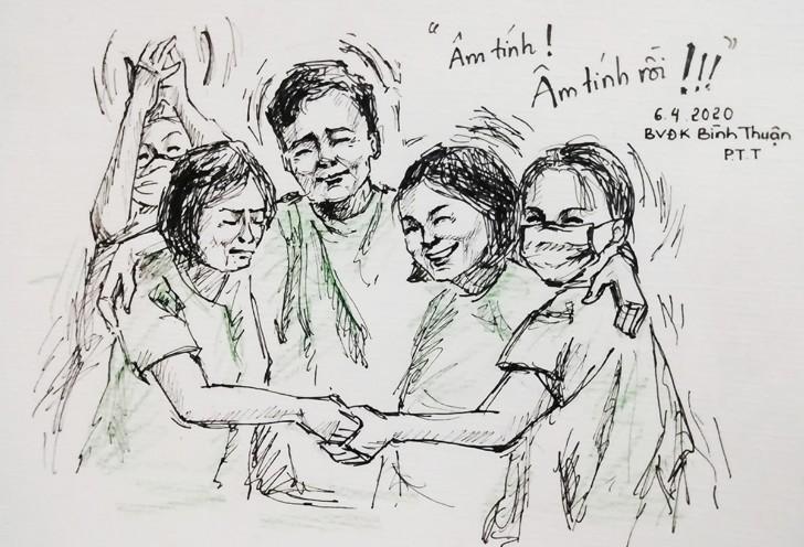 Những bức ký họa của người trẻ về chiến dịch chống Covid-19 làm lay động lòng người 6