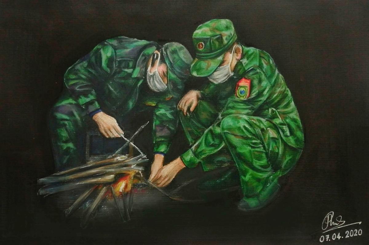 Những bức ký họa của người trẻ về chiến dịch chống Covid-19 làm lay động lòng người 7