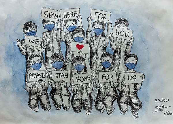 Bức ký họa về thông điệp kêu gọi mọi người ở nhà.