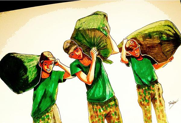 Các chiến sĩdân quânkhuân vác, đưađồ đạccủa người dân vào khu cách ly.