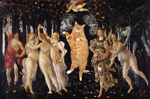 Chết cười loạt ảnh chế mèo béo trở thành 'nàng thơ' trong các bức họa nổi tiếng 1