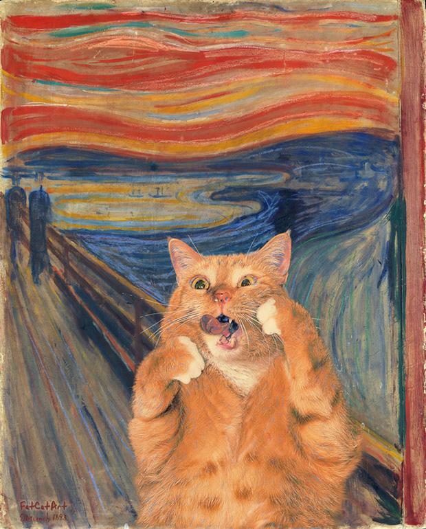 Chết cười loạt ảnh chế mèo béo trở thành 'nàng thơ' trong các bức họa nổi tiếng 10