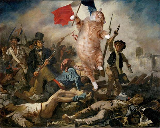 Chết cười loạt ảnh chế mèo béo trở thành 'nàng thơ' trong các bức họa nổi tiếng 3